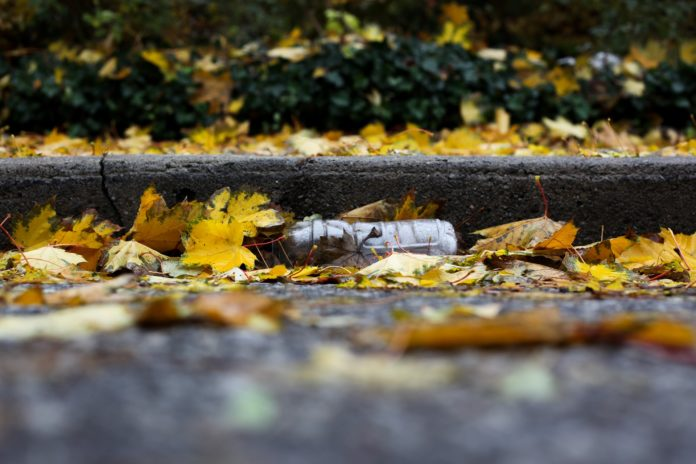 plastová flaška, voda, podzim